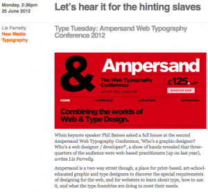Ampersand Conference Eye Blog