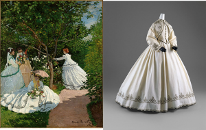 Claude Monet. Women in the Garden, 1866. Courtesy of Musée, d'Orsay, Paris. Alongside embellished white dress from the exhibition