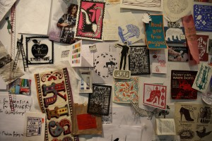 Inspiration/work wall at Rob Ryan's Open Studio, transported to Pick Me Up, 2010