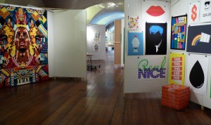 """View of """"Selects"""" with work by James Joyce (right) and Siggi Eggertsson (left), Pick Me Up, 2010"""