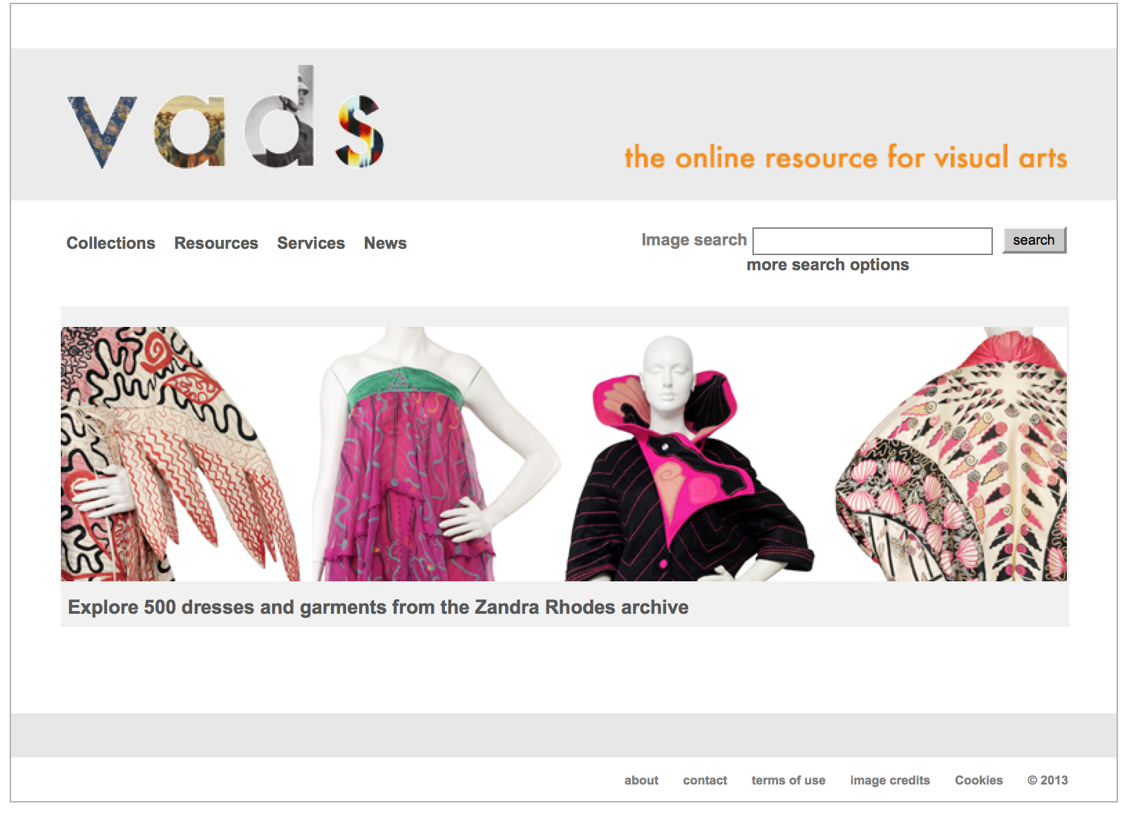 Screen Shot of webpage access to VADS, an online visual archive hub.