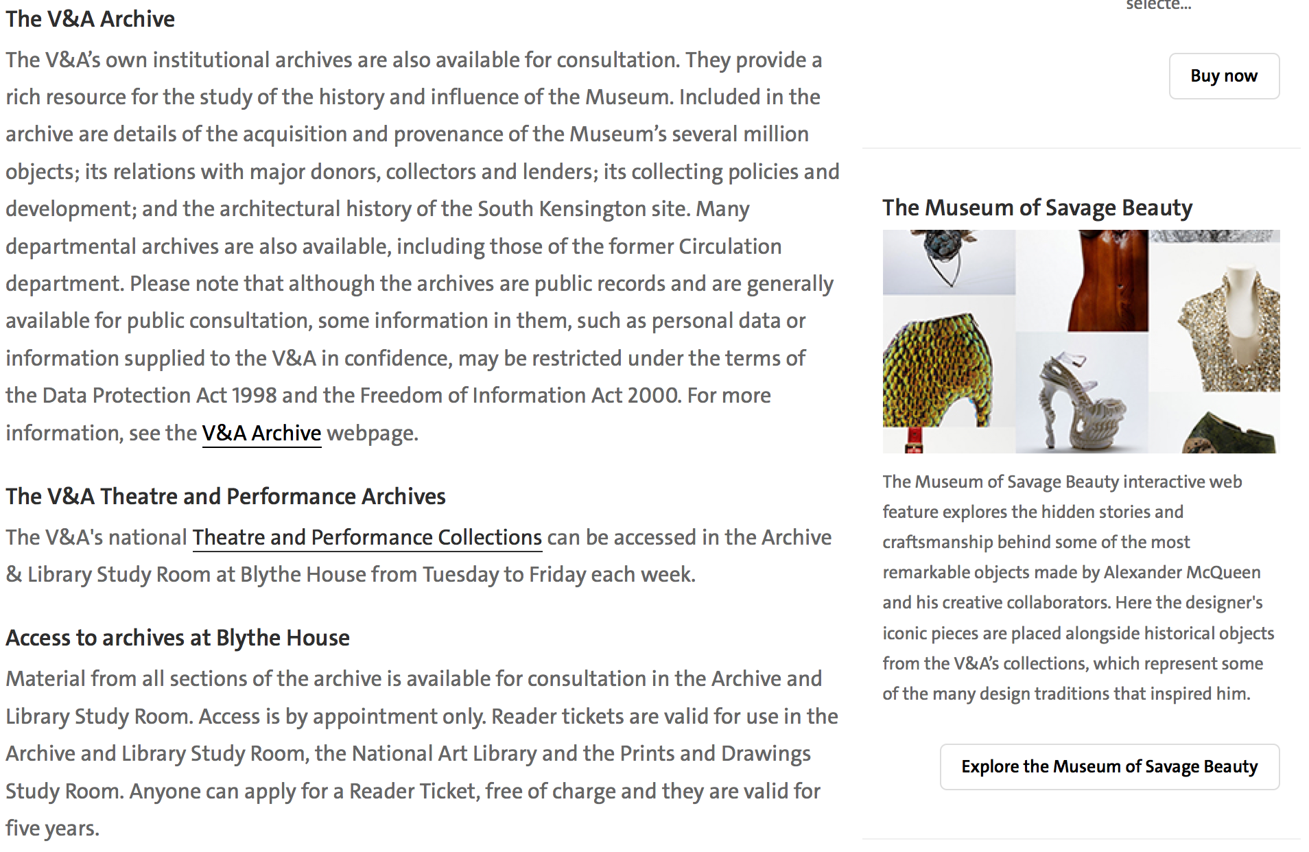 Screen Shot of webpage access to the V&A Archive.