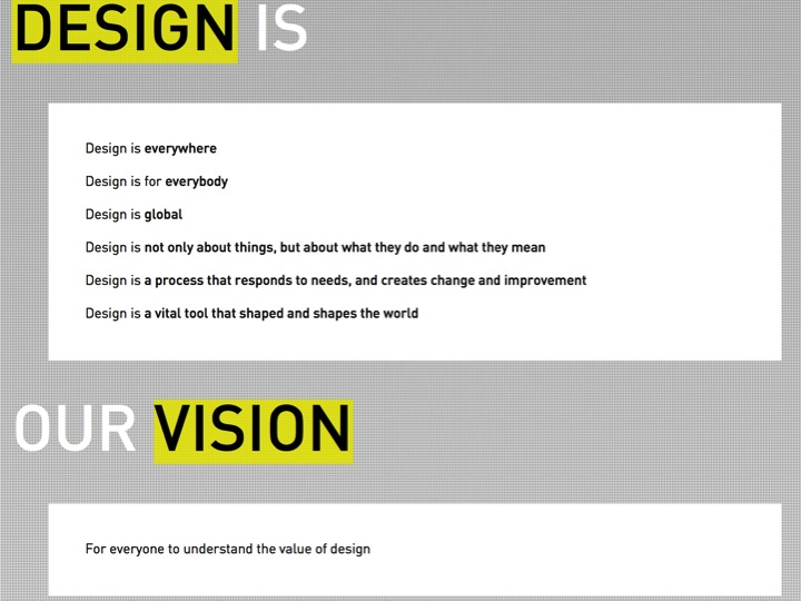 Screen-grab from the Design Museum's website; extracts from scrolling Mission Statement.