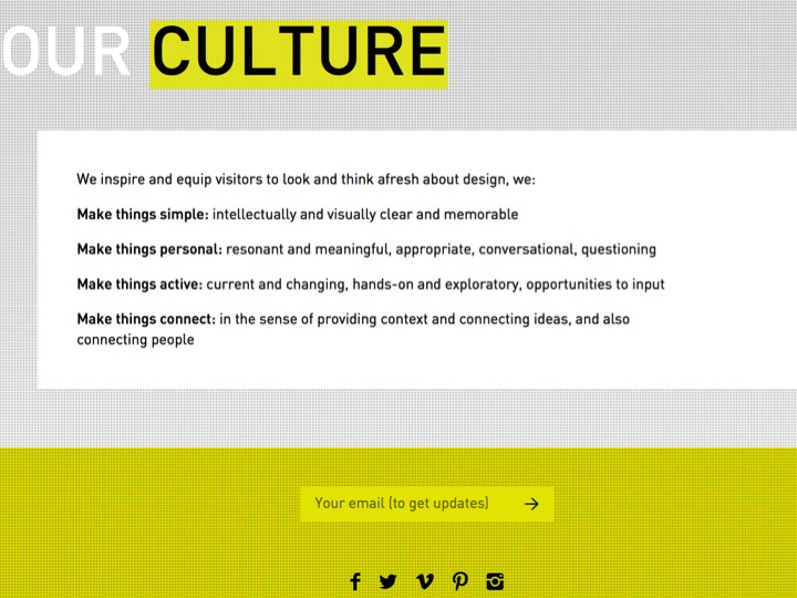 ...and Culture. Reaching the end of the scrolling page, social media icons prompt the website user to share content.
