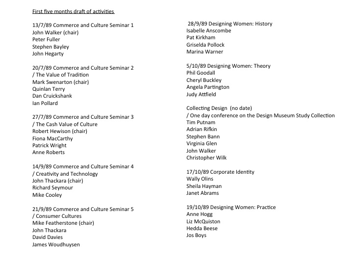 Retyped wish list of academic events planned for first months of the Design Museum at Shad Thames.