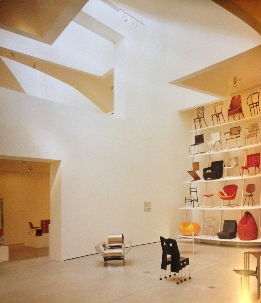 Interior of the Vitra Design Museum by Frank Gehry, 1989. Photograph by Vitra Design Museum and Peter Inselmann, reproduced in 'The Furniture Machine, Furniture since 1990' by Gareth Williams
