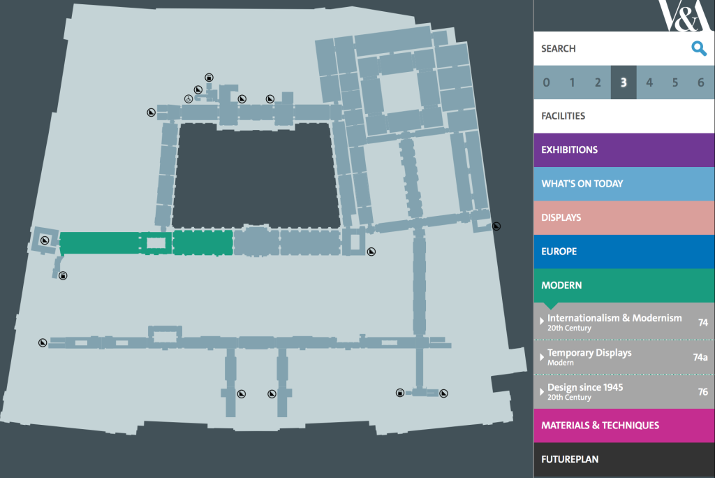Screen Shot from the V&A website of the online, digital map, showing the Modern galleries on Level 3