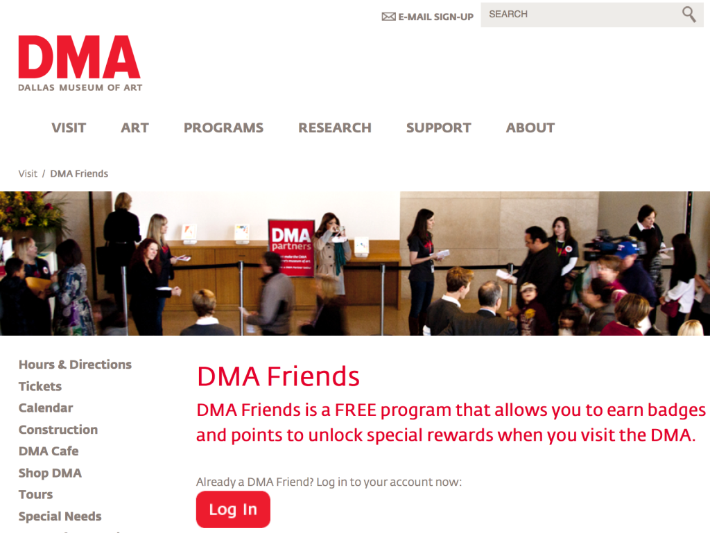Screen Shot, webpage of DMA's Friends scheme