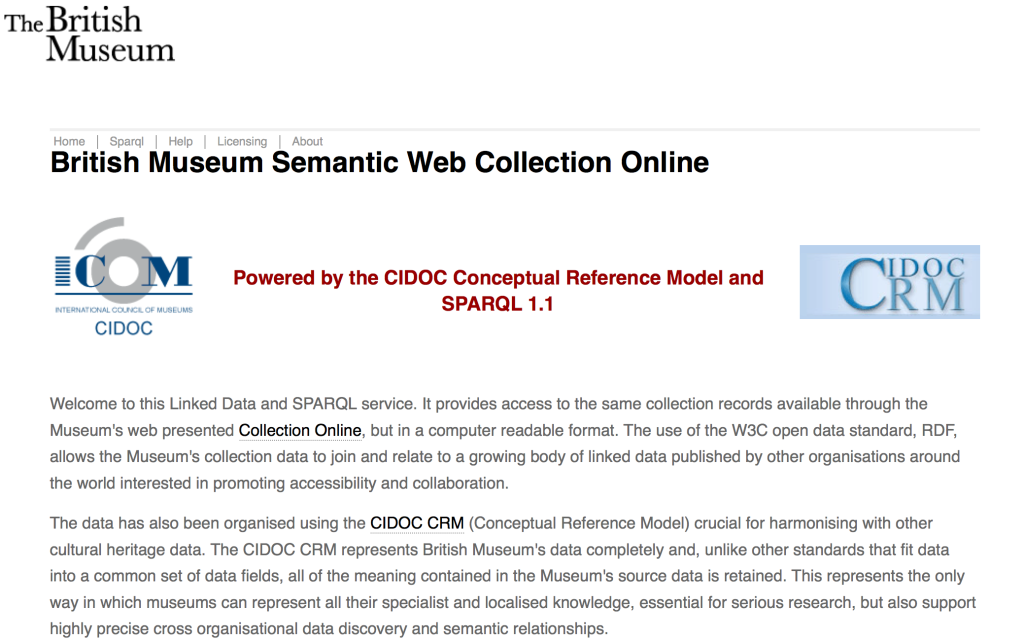 "Screen Shot of the British Museum's webpage to another version of the online collection, as ""Linked Open Semantic Data""."