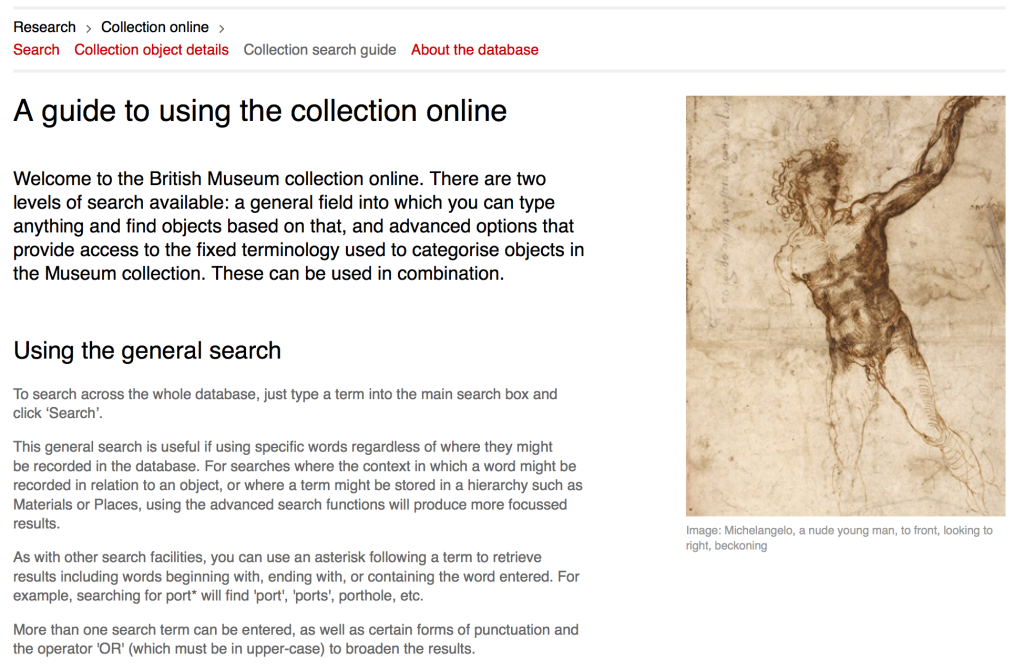Screen Shot explaining how to search the British Museum's online collections; although typical of a public-facing graphic user interface it does give extra-useful tips on how to search