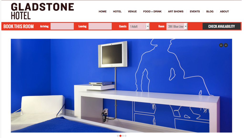 "Screen Shot of ""The Blue Line"" room in The Gladstone"