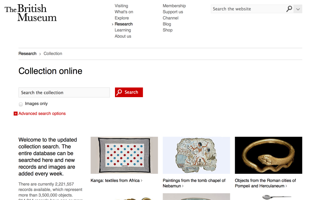 Screen Shot, webpage/interface between the public and the British Museum's online collection