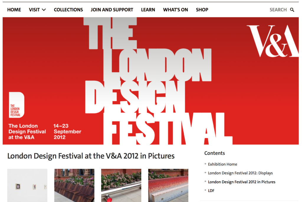 """Screen Shot from V&A's website found by Googling """"LDF V&A 2012""""; this page archives displays and photos from that year's design festival."""
