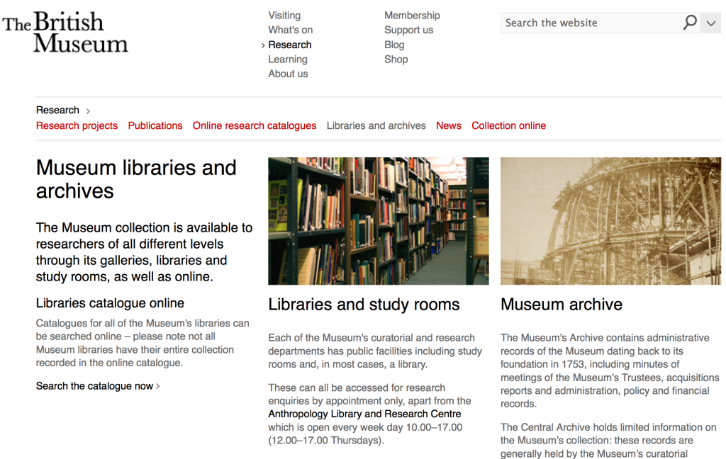 Screen Shot of the British Museum's Libraries and Archives webpage.