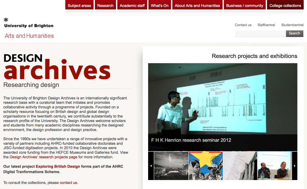 Screen Shot of Homepage for University of Brighton's Design Archives listing the individual archives, news and events.
