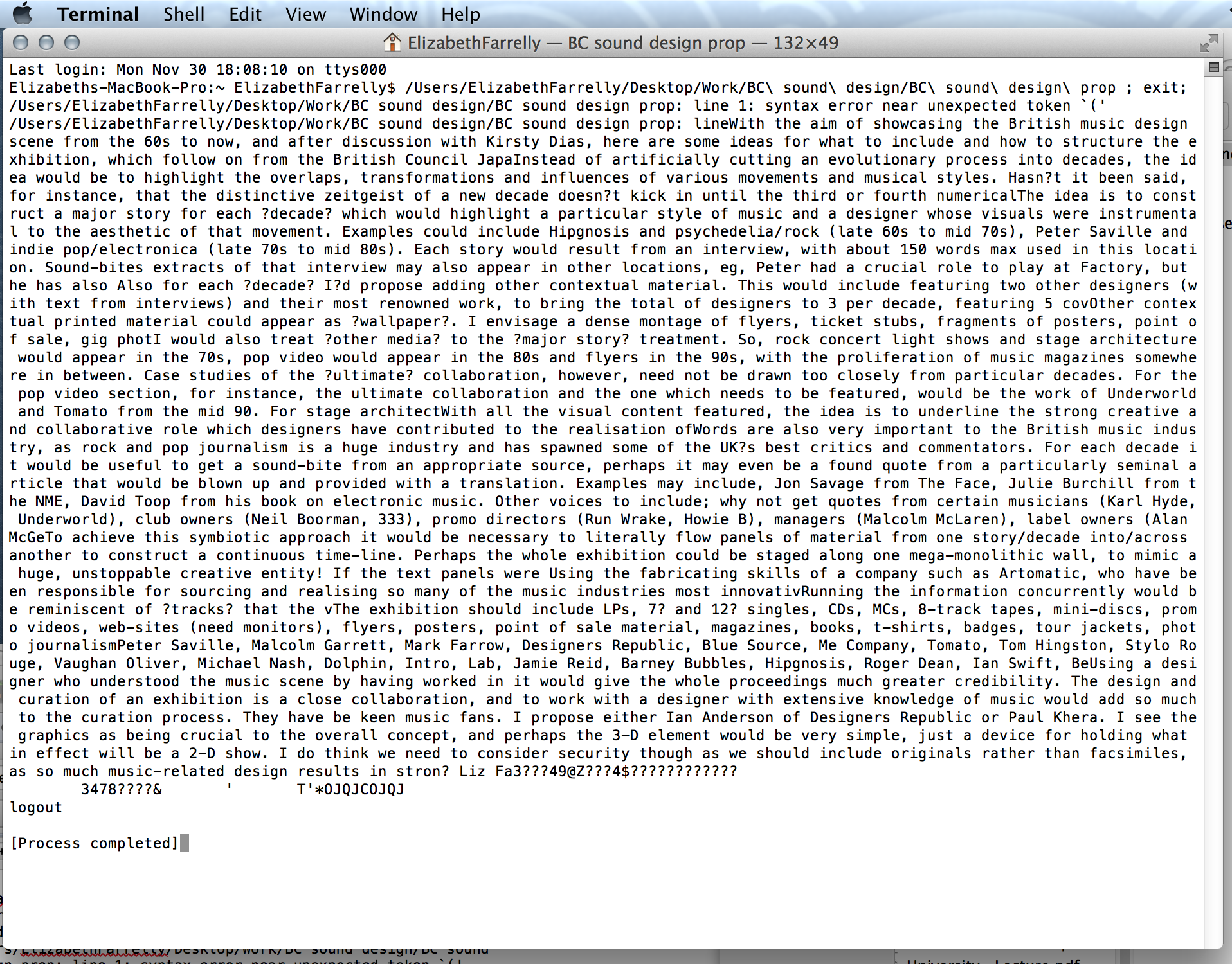 Screen Shot of a corrupted file; the exhibition proposal, with some sentences missing