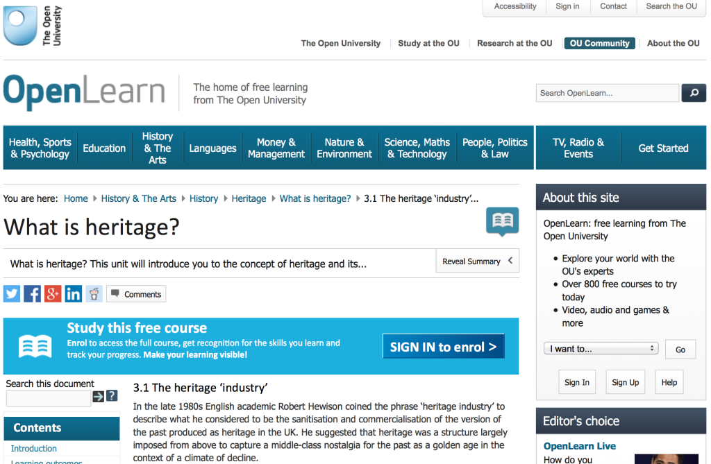 Screen Shot of Open University webpage mentioning Robert Hewison and heritage.