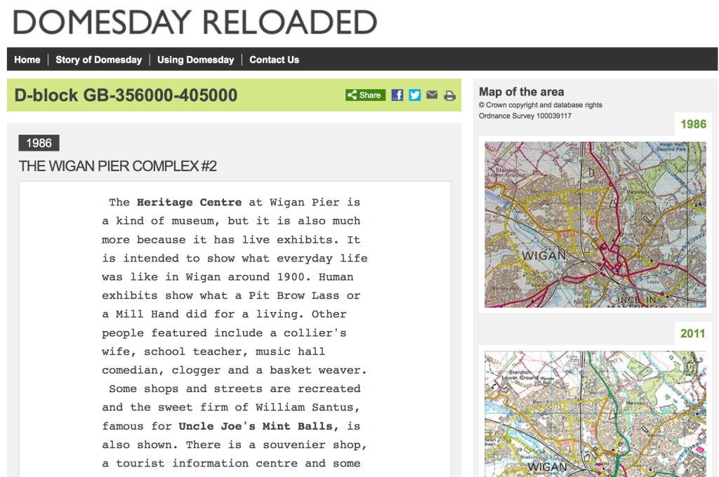 Screen Shot of the ill-fated BBC Domesday project, entry for Wigan Pier Heritage Centre.