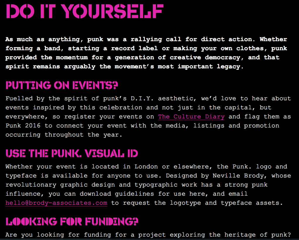 Screen Shot from Punk.London website, designed by Brody Associates, inviting D-I-Y participation in a city-wide cultural event
