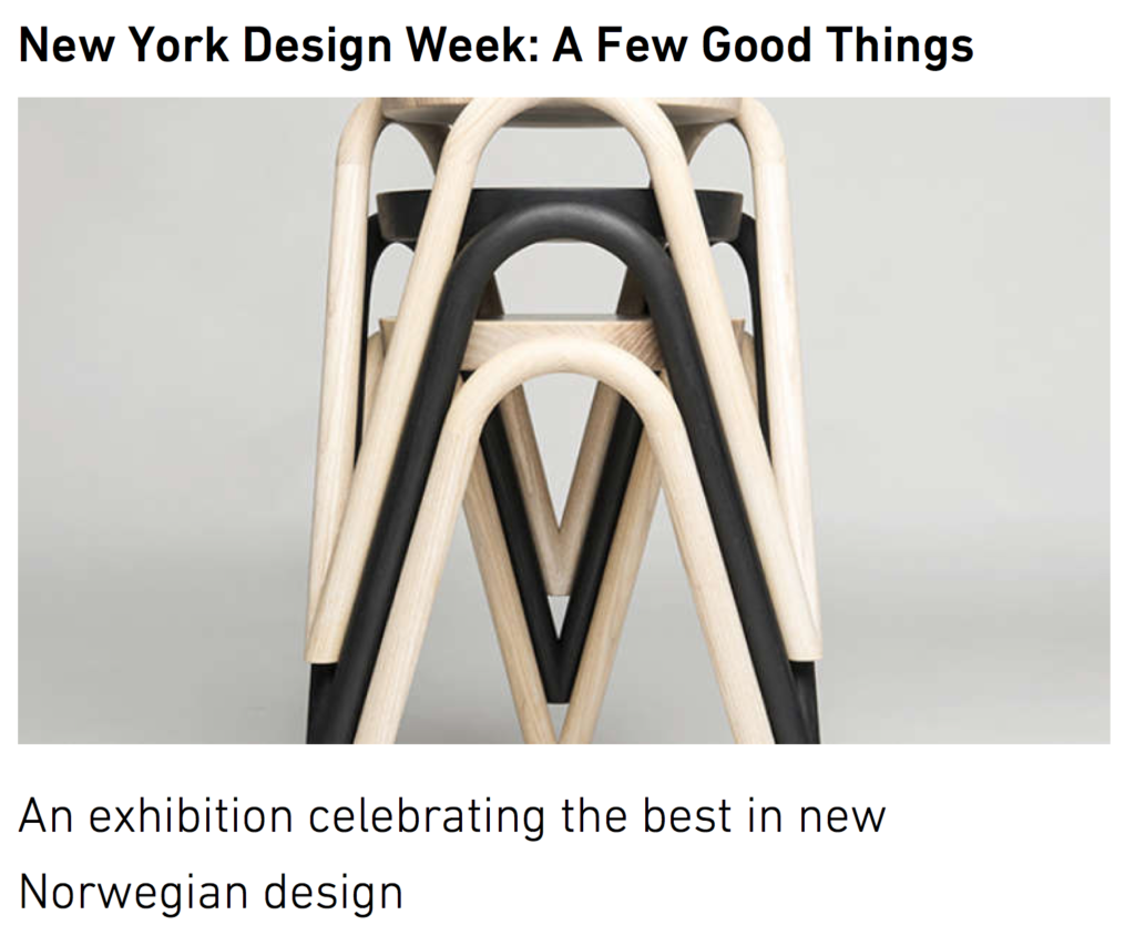 VAVA stacking stool in Ash, by Kristine Five Malvaer, featured in a Screen-Shot from DOGA's exhibition coverage.
