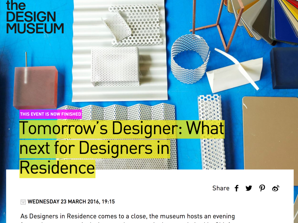 Screen Shot from the Design Museum's website, detailing the evening's event