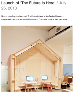 Screen Shot from Architecture00 website, announcing participation in a Design Museum exhibition.