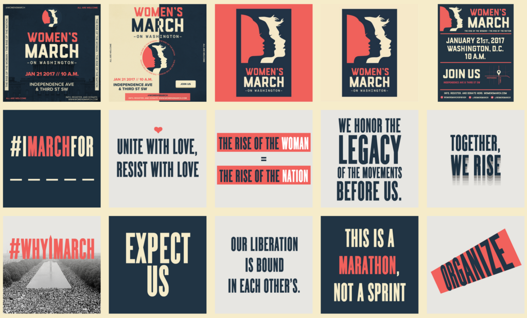 Screen Shot from Women's March on Washington webpage of downloadable graphics.