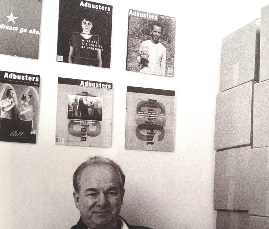 Kalle Lasn in his office, with magazines. Photograph by Gregg Virostek.