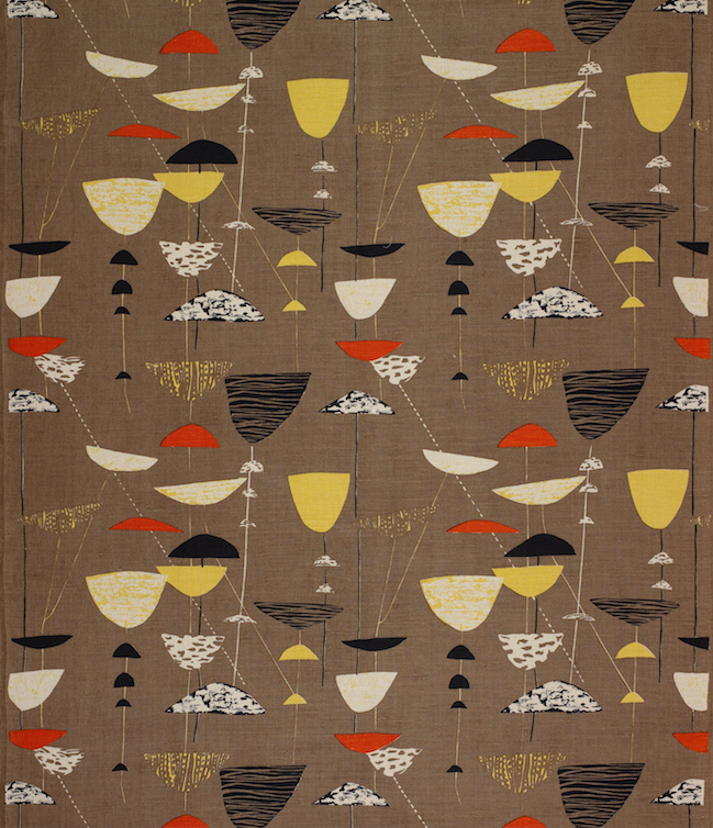 Calyx screen-printed furnishing fabric, Lucienne Day, Heal's Wholesale &; Export, 1951. The Robin and Lucienne Day Foundation and archive.