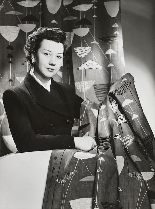 Lucienne Day in New York with Calyx (1951), 1952: The Robin and Lucienne Day Foundation and archive. Photographer: Studio Briggs.