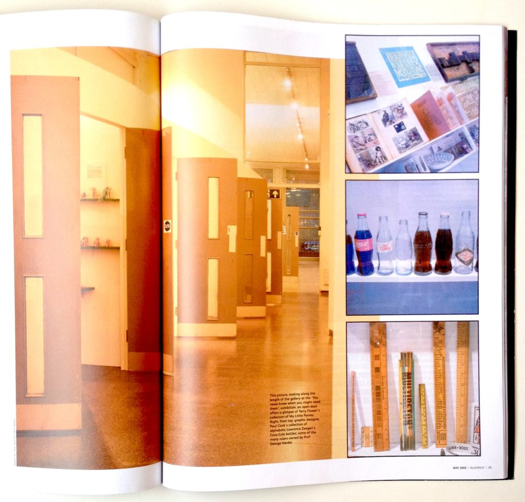 Spread from 'Blueprint' showing University of Brighton Gallery and exhibition design featuring salvaged fire doors