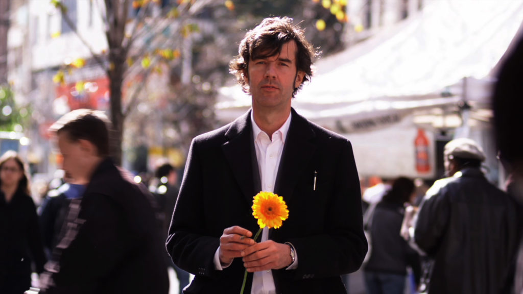 Stefan Sagmeister in 'The Happy Film', seeking discomfort on the streets of New York. Photograph: Ben Wolf.